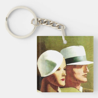 """Marcello Dudovich Book Cover """"Beautiful And The Da Single-Sided Square Acrylic Keychain"""