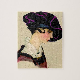 "Marcello Dudovich Illustration ""Girl In Purple Hat Jigsaw Puzzle"