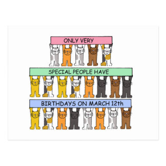 March 12th Birthdays celebrated by cats. Postcard