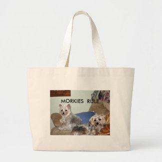 MARCH 18, 2008 009_edited, MORKIES  RULE Large Tote Bag