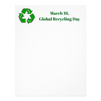March 18, Global Recycling Day Design Letterhead