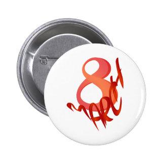 March 8 2 inch round button