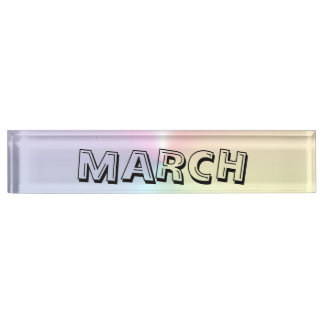 March Alphabet Soup Shimmer Desk Nameplate by Janz