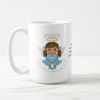 March Birthstone Angel Brunette Coffee Mug