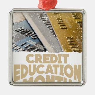 March - Credit Education Month - Appreciation Day Silver-Colored Square Ornament