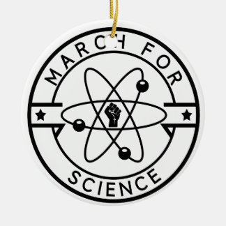 march_for science round ceramic ornament