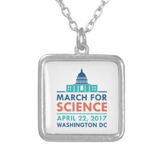 March For Science Silver Plated Necklace