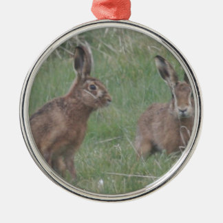 March Hares Metal Ornament