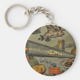 March of the intellect basic round button keychain