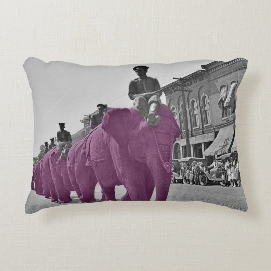 March of the Purple Elephant 1920's Circus Parade Accent Pillow