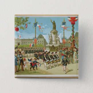 March-Past in the Place de la Republique 2 Inch Square Button