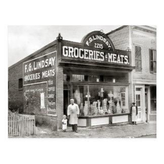 Marché d'épicerie et de viande, 1916 carte postale