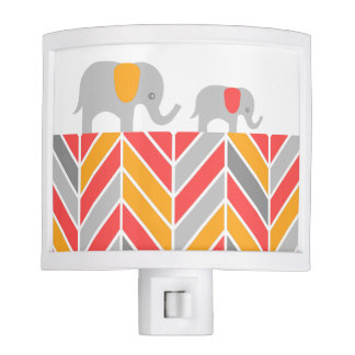 Marching Baby Elephants Chevron Coral and Orange Night Lights