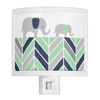Marching Baby Elephants Chevron Navy and Mint Nite Light