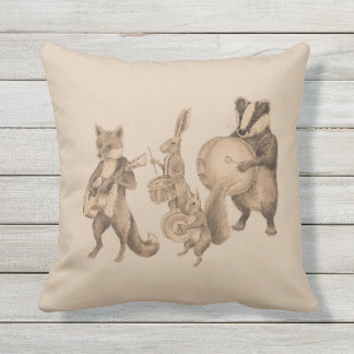 Marching band of animals throw pillow