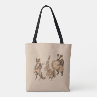 Marching band of animals tote bag