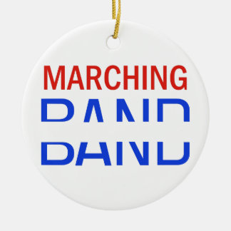 Marching Band School Name Drop Round Ceramic Ornament