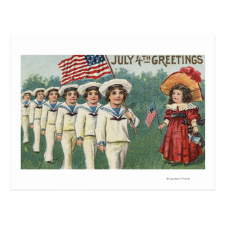 Marching Boys Dressed as Sailors Postcard