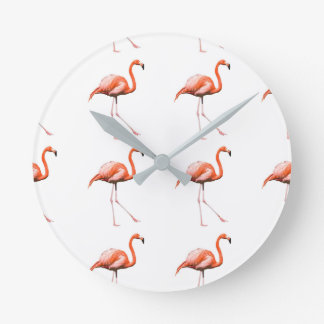 Marching Flamingos Round Clock