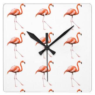 Marching Flamingos Square Wall Clock