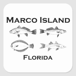 Marco Island Saltwater Fish Square Sticker
