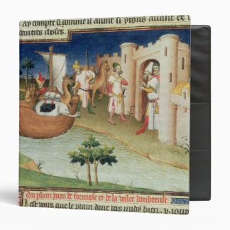 Marco Polo with elephants and camels arriving 3 Ring Binders