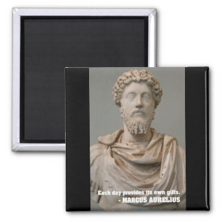 Marcus Aurelius 'Each day provides' quote magnet