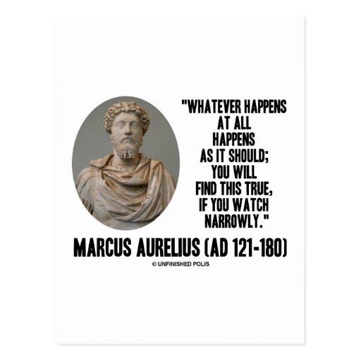 Marcus Aurelius Whatever Happens At All Happens Postcards