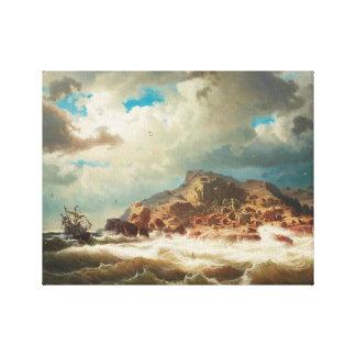 Marcus Larson - Ship by the Coast Canvas Print