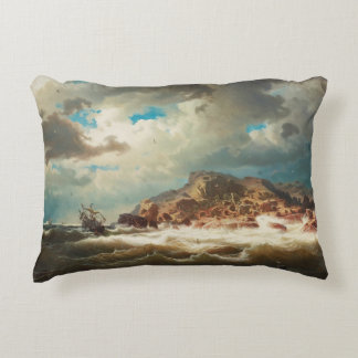 Marcus Larson - Ship by the Coast Decorative Pillow