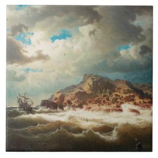 Marcus Larson - Ship by the Coast Tile