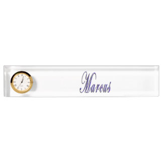 Marcus, Name, Logo, Desk Name Plate With Clock.