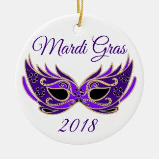 Mardi Gras 2018 Mask Ceramic Ornament