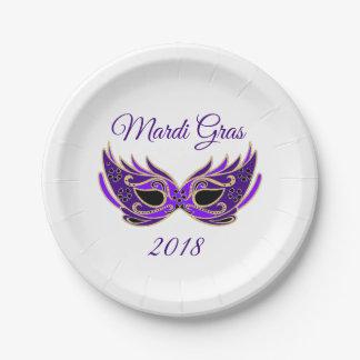Mardi Gras 2018 Mask Paper Plate