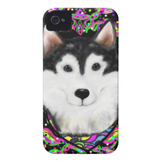 Mardi Gras Alaskan Malamute Case-Mate iPhone 4 Case