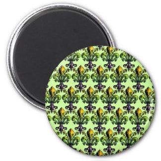 Mardi gras antique Fleur Magnet Rond 8 Cm
