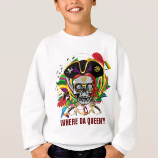 Mardi Gras Apparel Pirate Front Queen on Back Sweatshirt