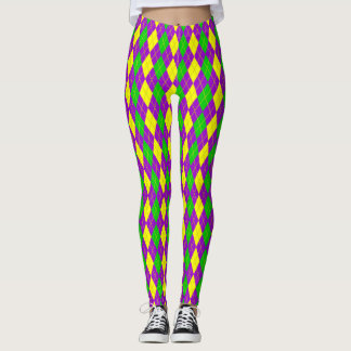 Mardi Gras Argyle Pattern Purple,Gold ,Green Leggings