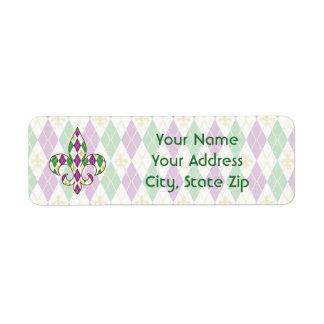 Mardi Gras Argyle Return Address Label
