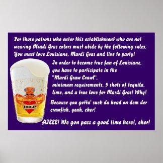 """Mardi Gras Bar Poster 60""""x 40""""Customize View Notes"""
