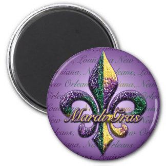 Mardi Gras bead Fleur de lis 2 2 Inch Round Magnet