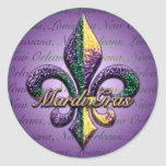 Mardi Gras bead Fleur de lis 2 Round Sticker