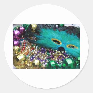 Mardi Gras Beads & Green Feather Mask Classic Round Sticker