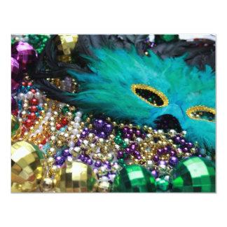 Mardi Gras Beads & Green Feather Mask Invitations
