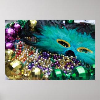 Mardi Gras Beads & Green Mask Poster Art Print
