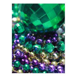 Mardi Gras Beads Green Postcard Invitations