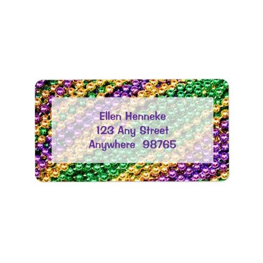 Mardi Gras Beads Label