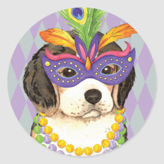 Mardi Gras Beagle Classic Round Sticker