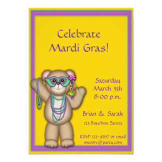 Mardi Gras Bear Invitation