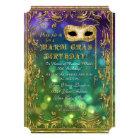 Mardi Gras Birthday Masquerade Mask Bokeh Gold Card